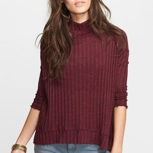 NWOT Free People Clarissa Mock Neck Ribbed Sweater